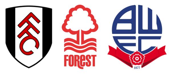 fulham, bolton & nottingham forest logos